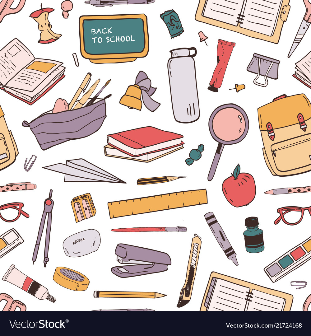 Colorful seamless pattern with scattered school