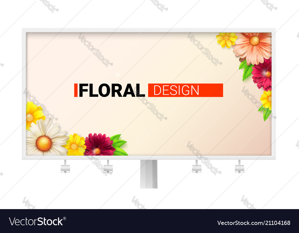 Floral design for billboard card with spring vector
