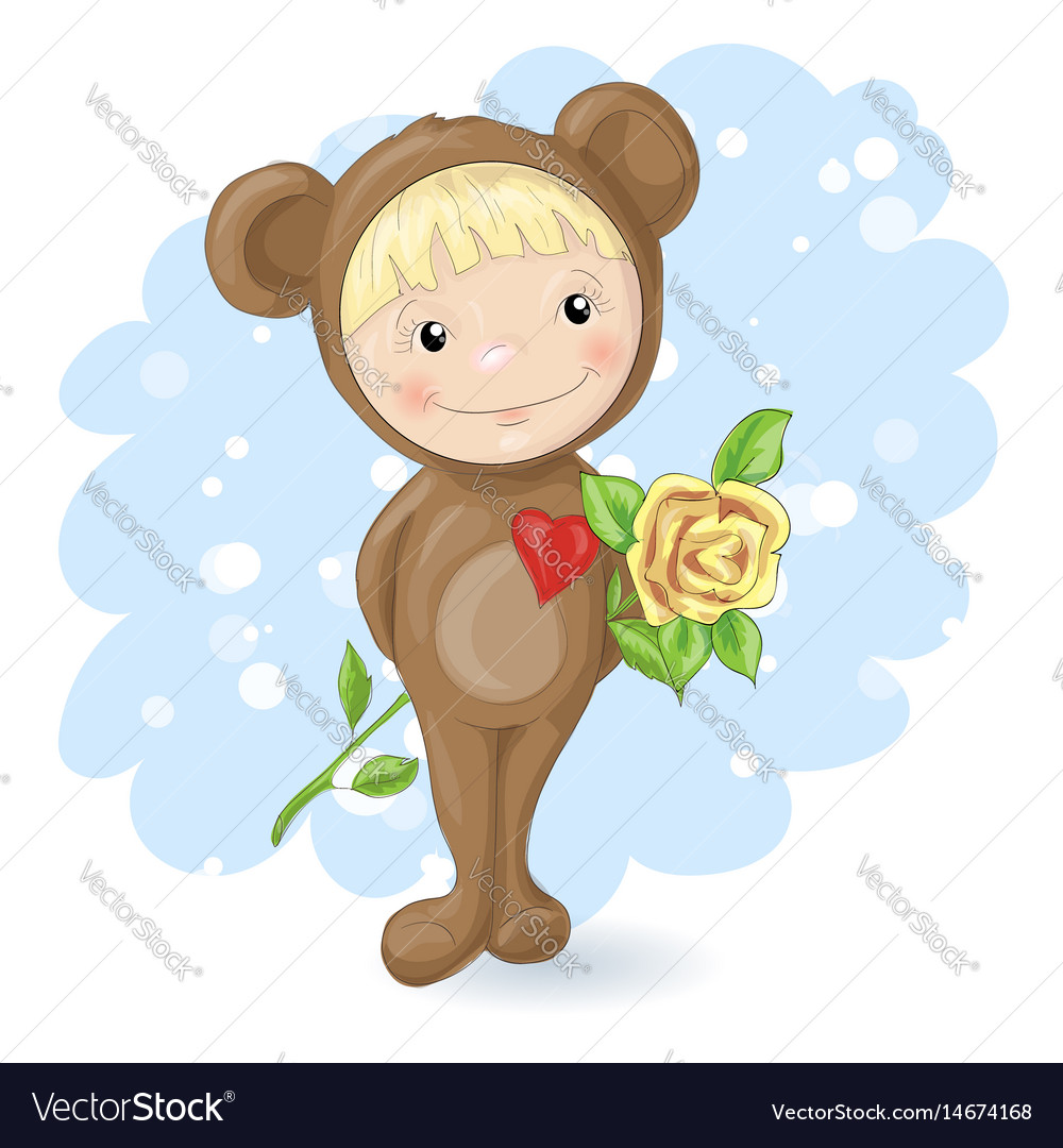 Girl in the suit of a teddy bear with a rose