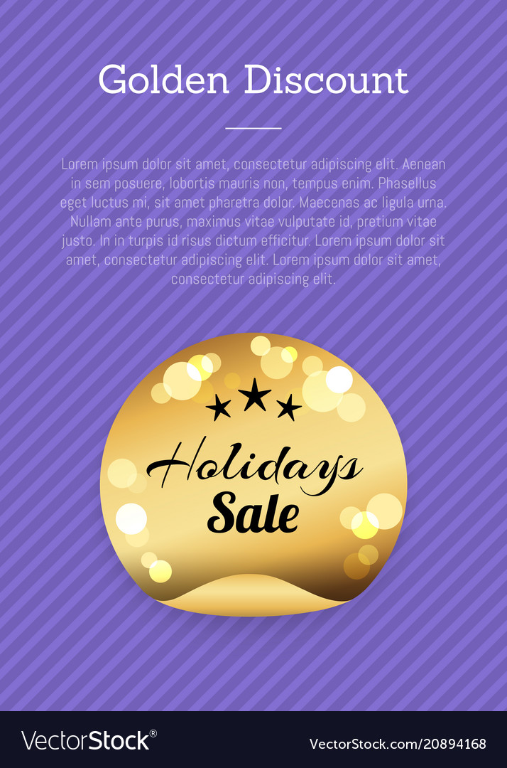 Golden discount holidays sale golden round label