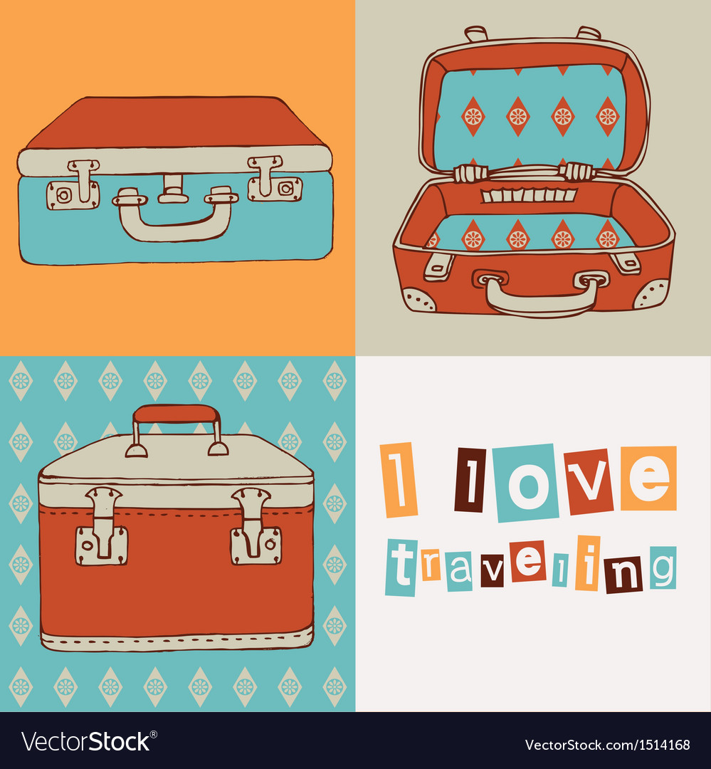 Hand drawn suitcases vintage pattern