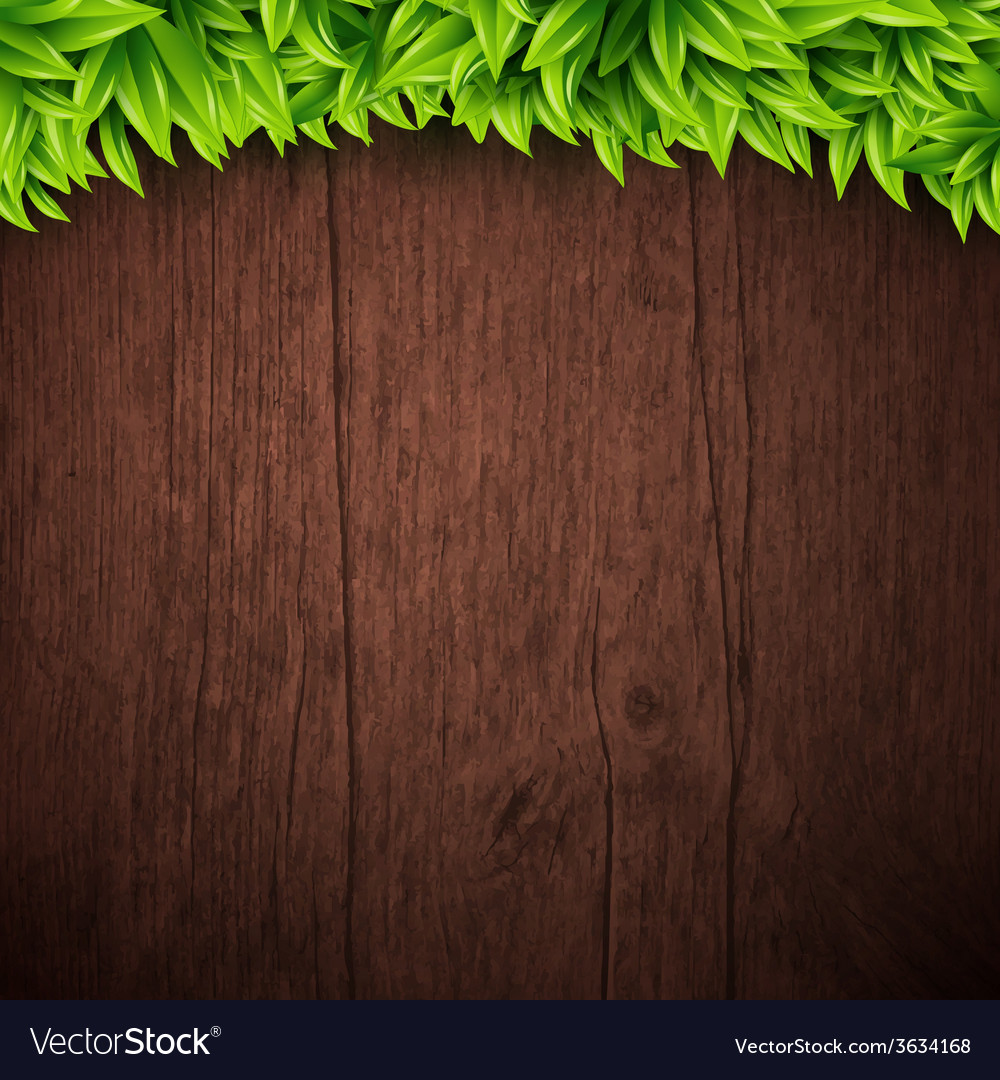 Natural background with wooden board and leaves
