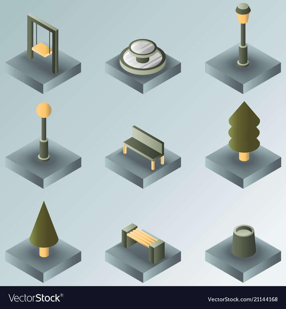 Park color gradient isometric icons