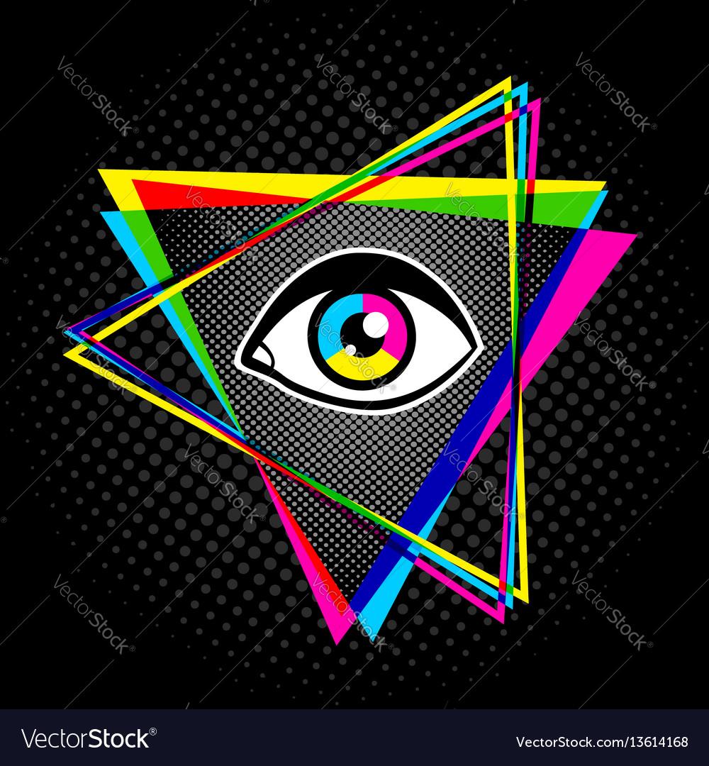 Pyramid and eye vector image