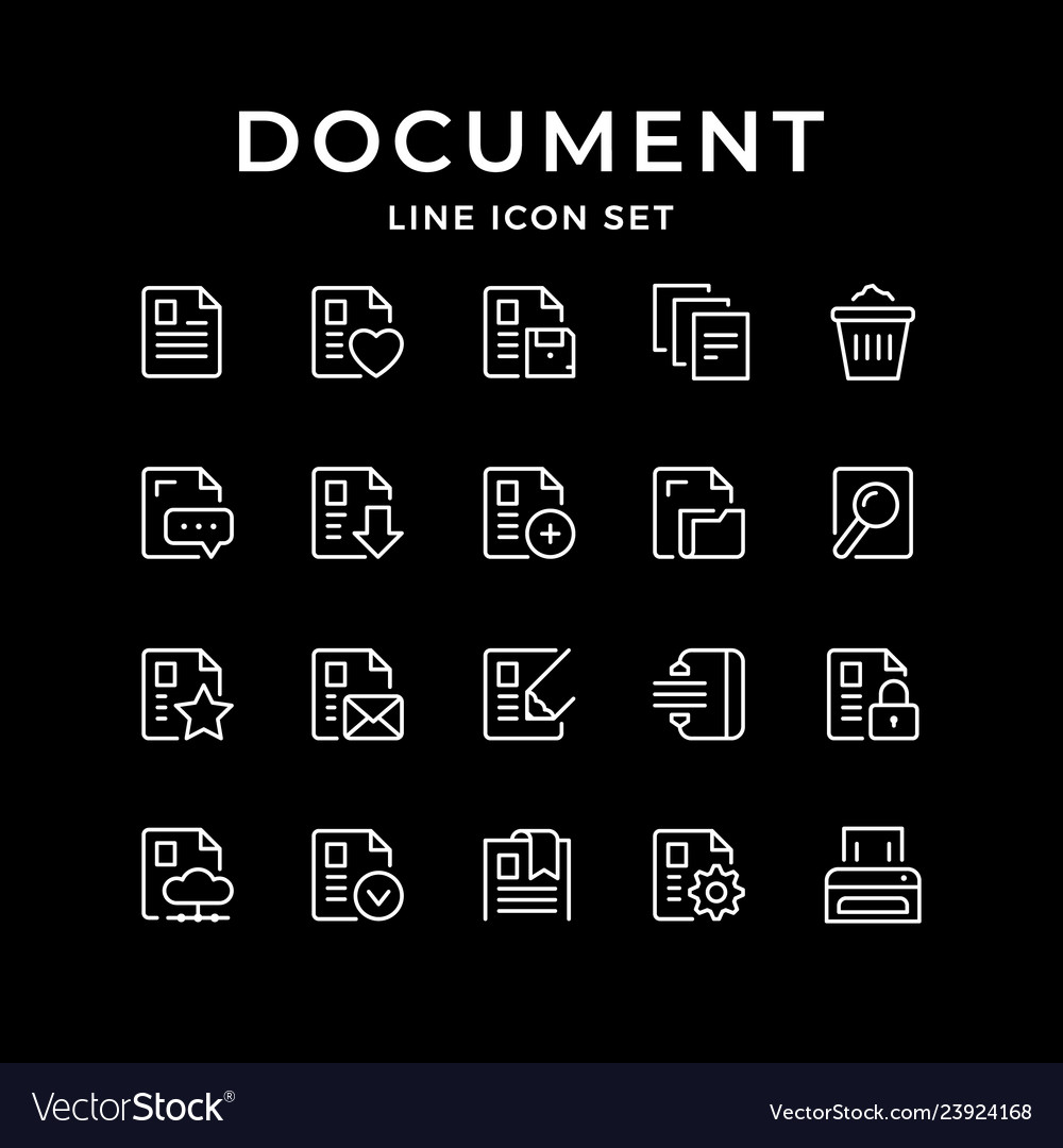 Set line icons of document