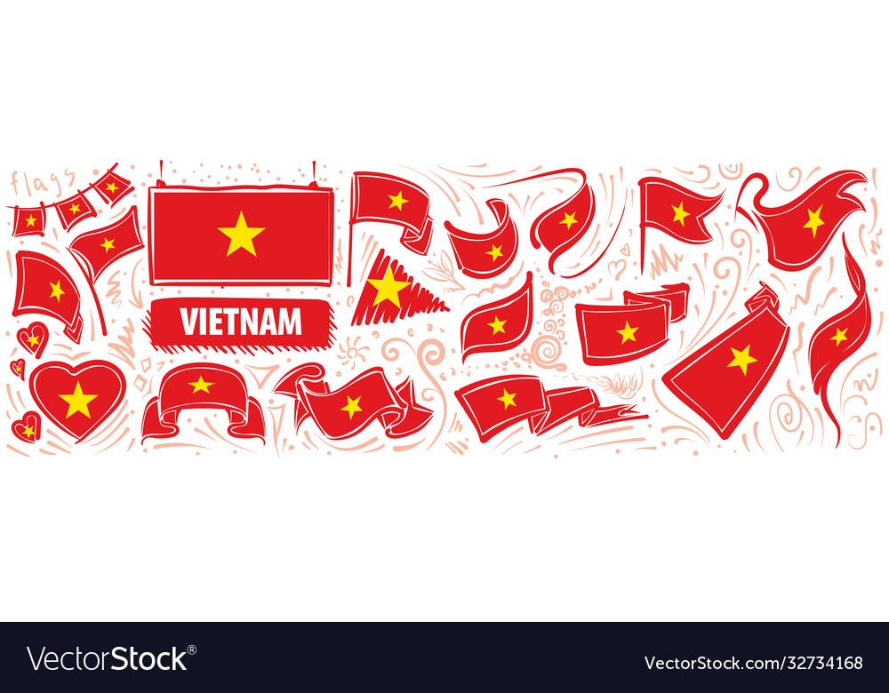Set national flag vietnam in