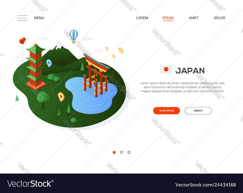 Visit japan - modern colorful isometric web banner