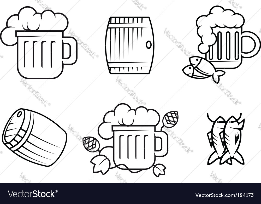 Beer and alcohol symbols vector image