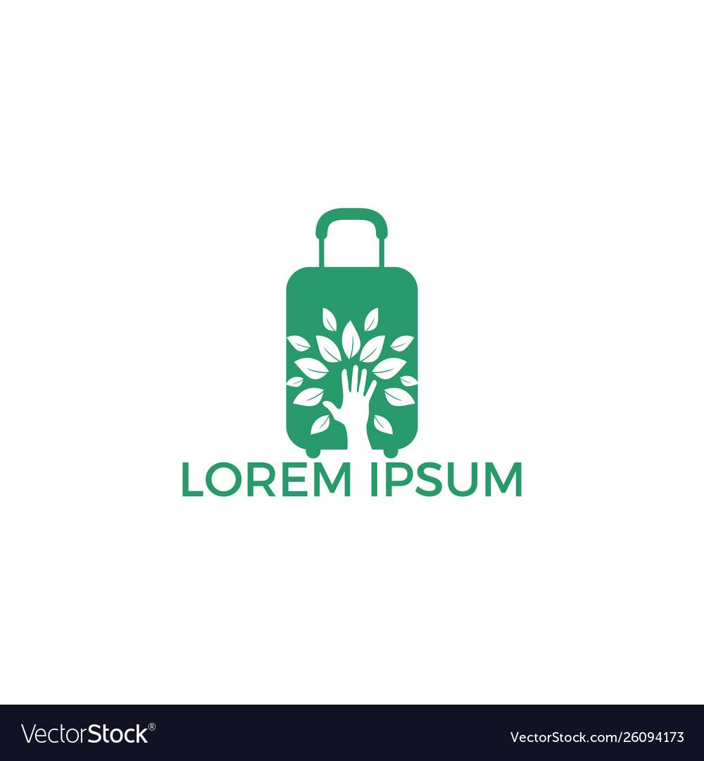 Creative green hand tree and travel bag logo