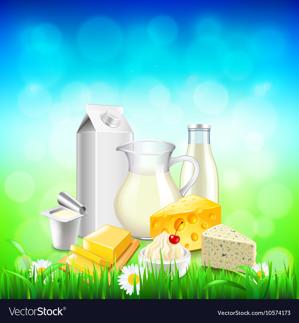 Dairy products on green grass blue sky background