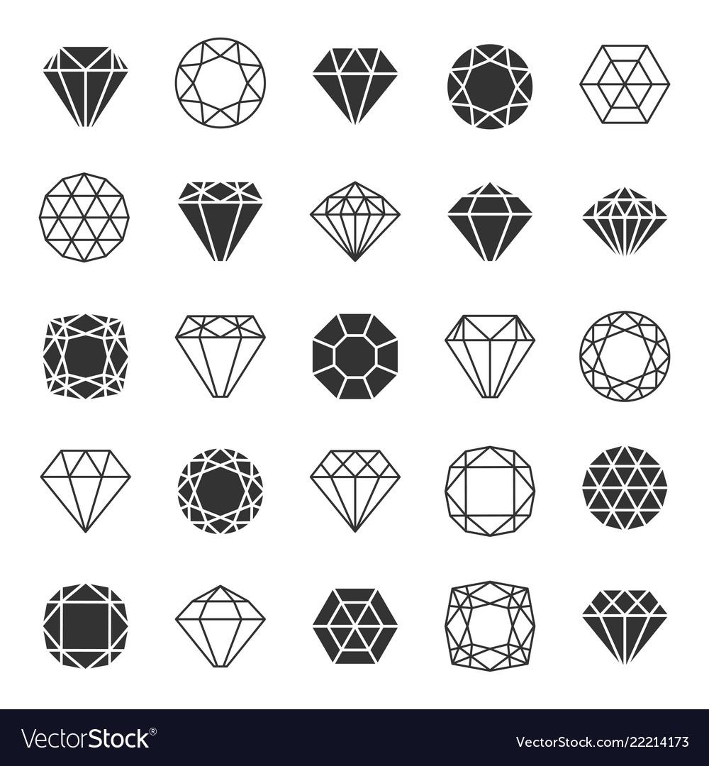 Diamond line icons set