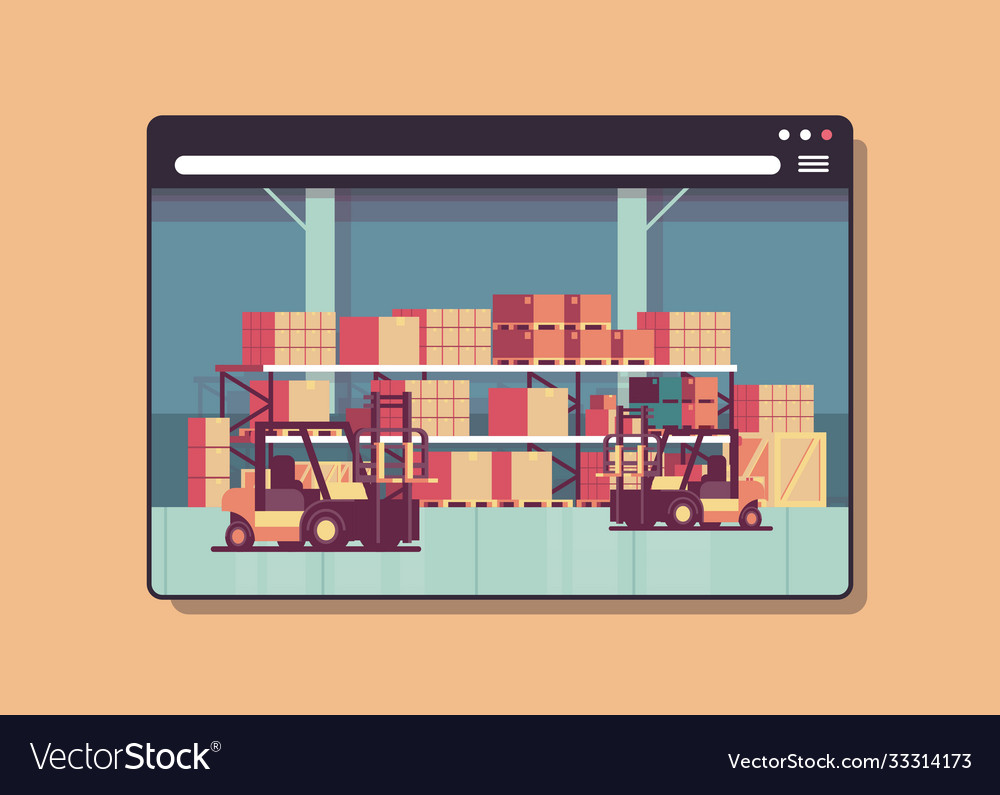 Digital warehouse with forklifts in web browser