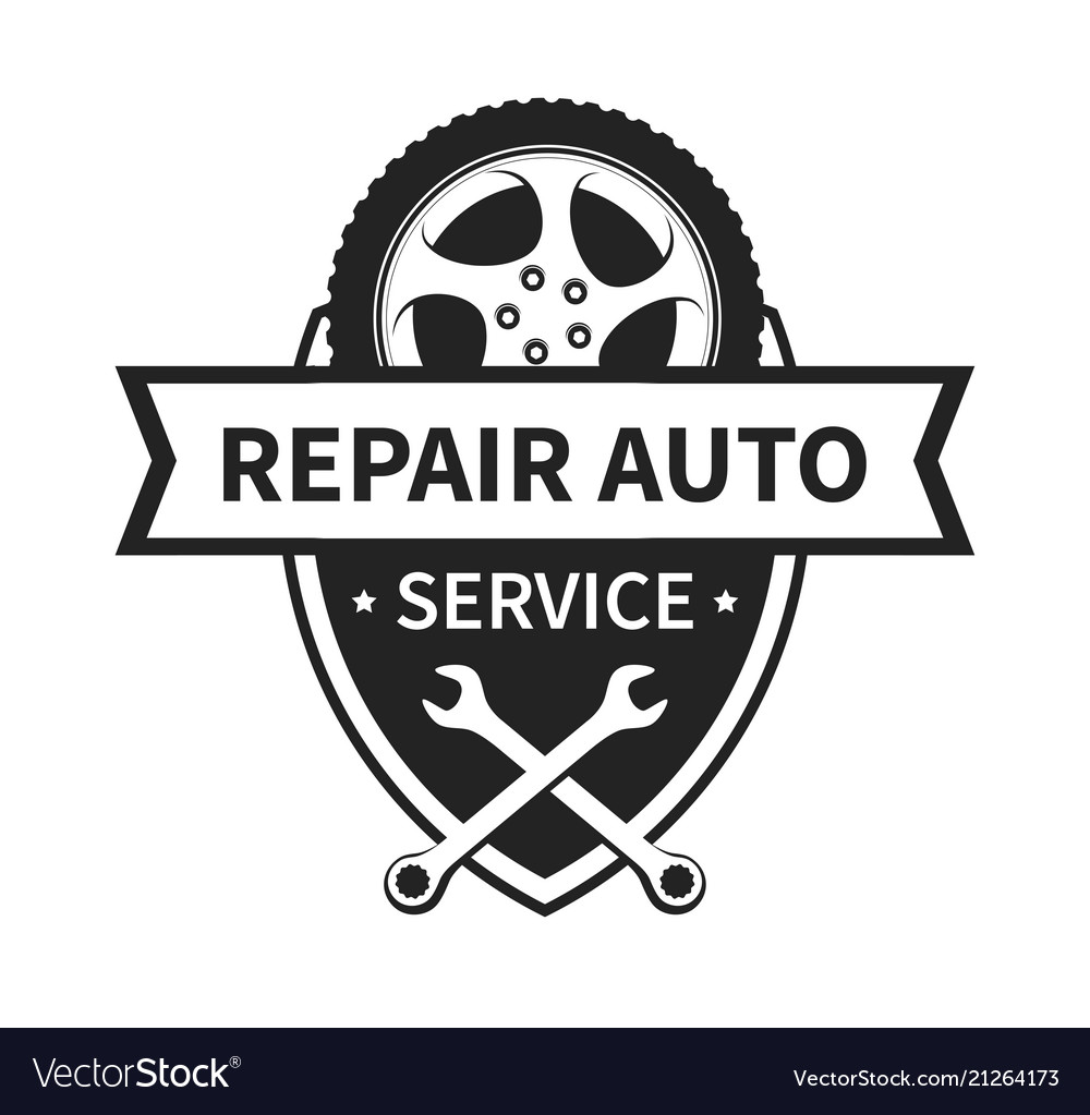 Emblem for repair car and tire service