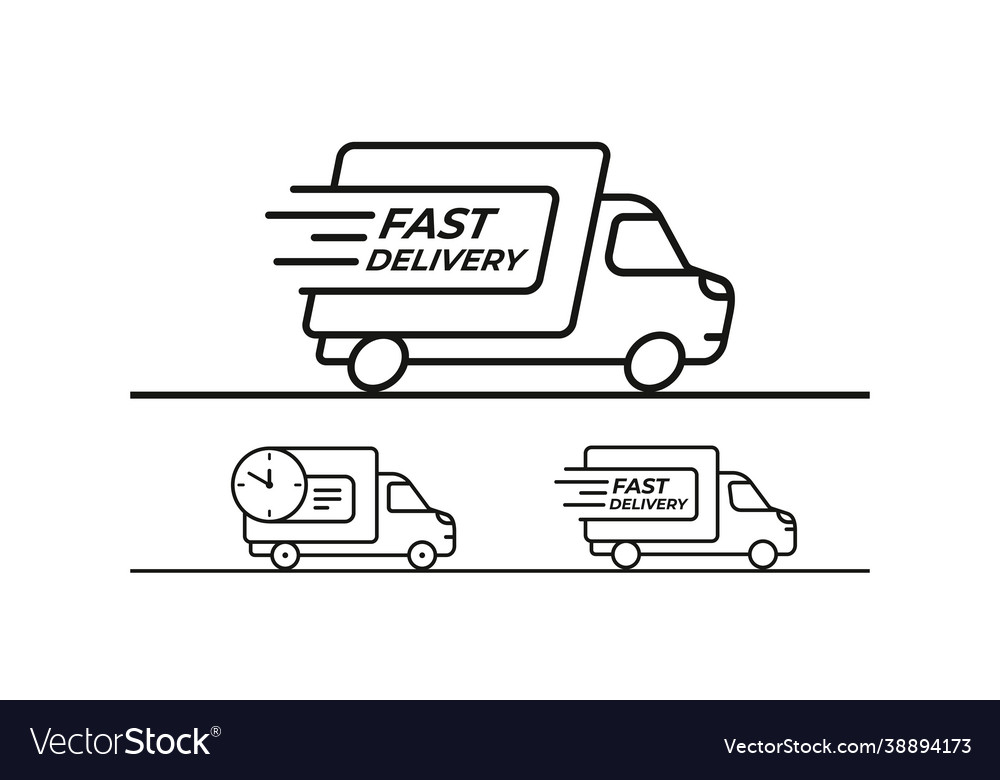 Fast delivery shipping truck set icons