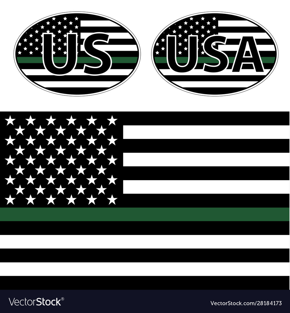Flags us police with green line