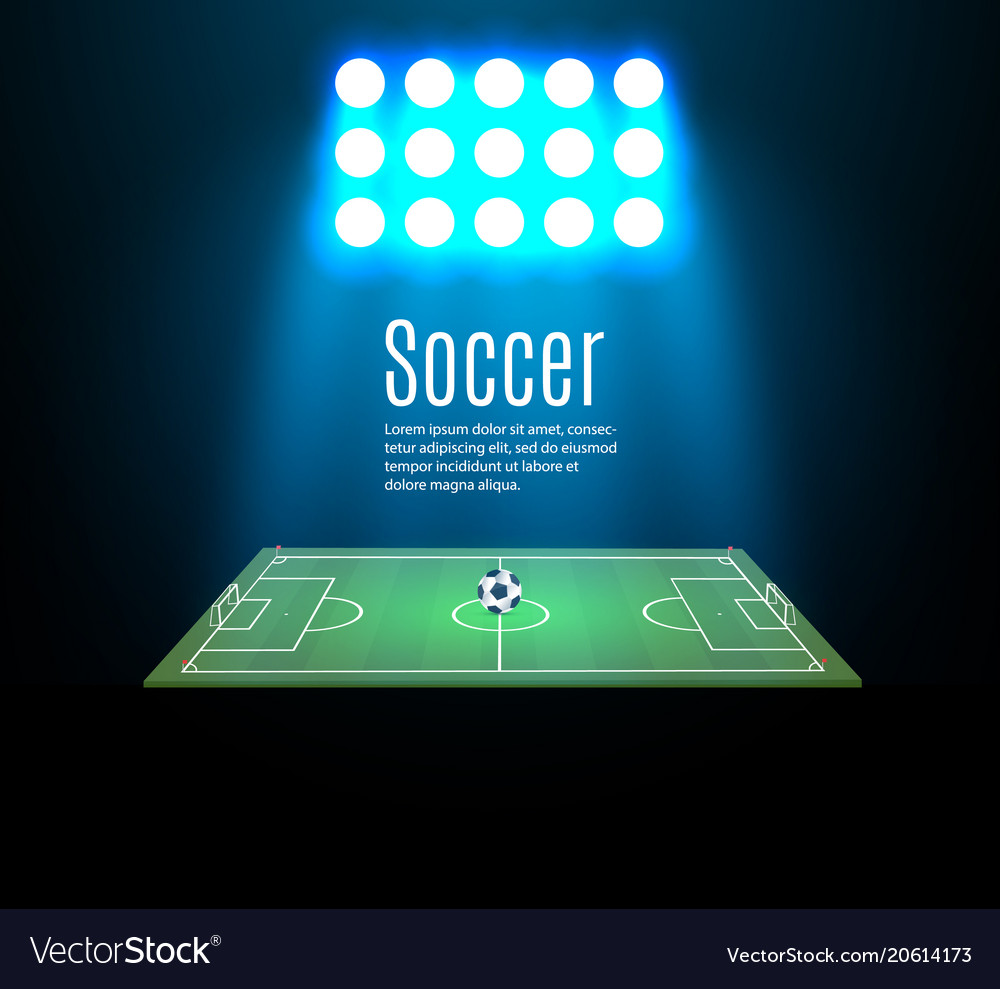 Football stadium with a ball on a football field