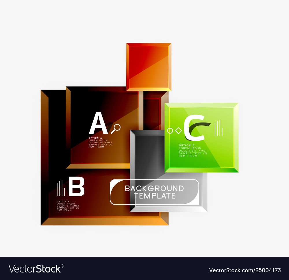 Geometrical design squares abstract banner glossy