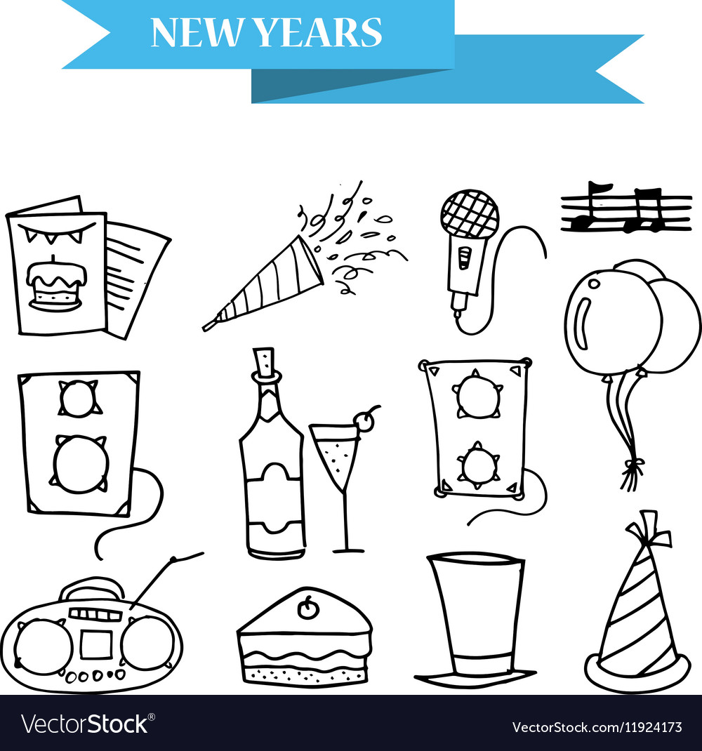 Hand draw icons New Year and Merry Christmas vector image