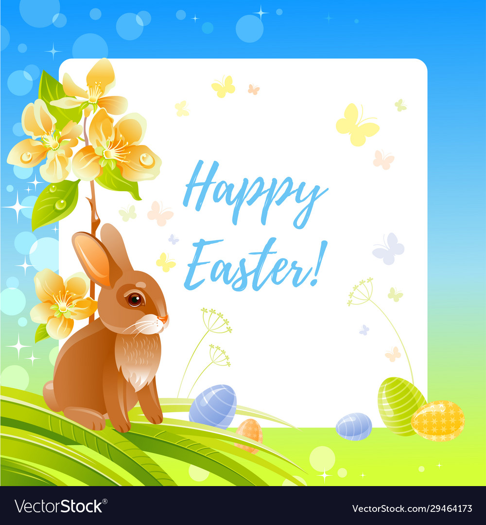 Happy easter greeting card with bunny blue sky