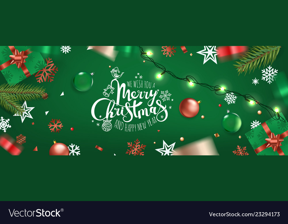 Happy new year banner christmas wishes template