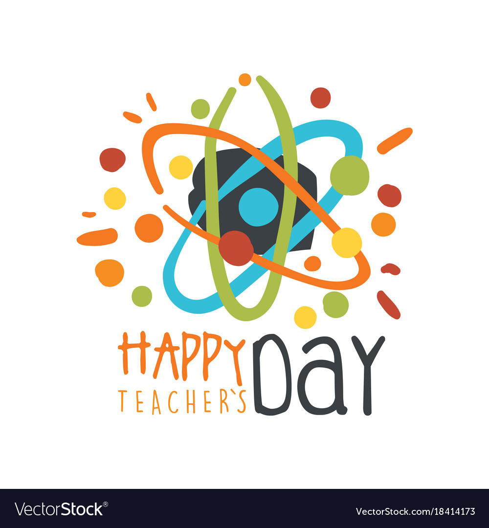 Happy teachers day greeting card with atom vector image m4hsunfo