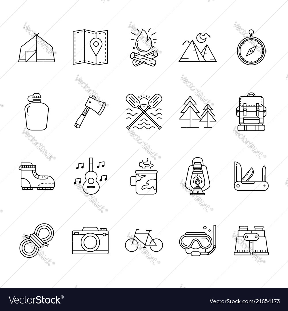 Set hiking and camping icons