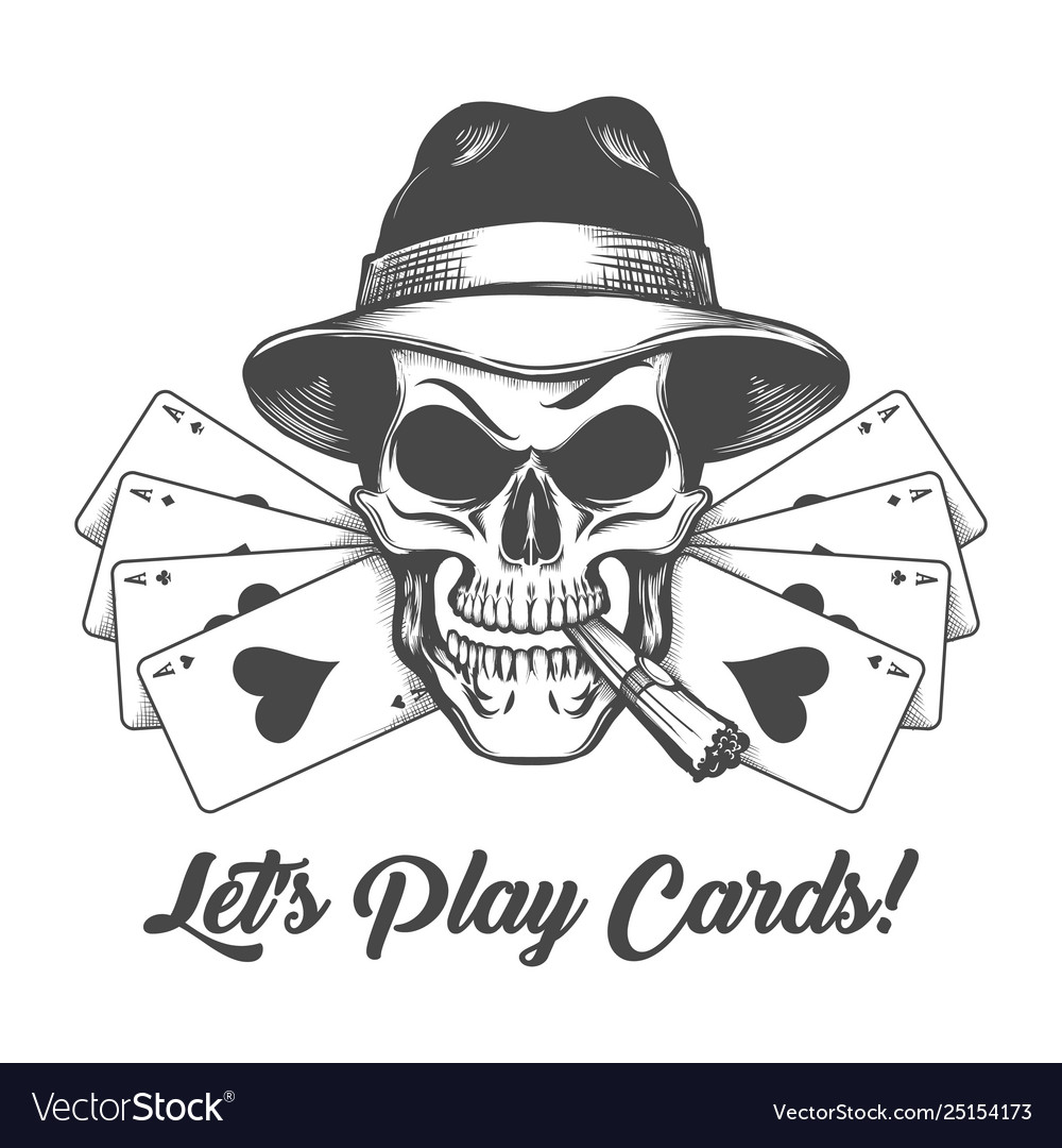 Skull in gangster hat with playing cards and