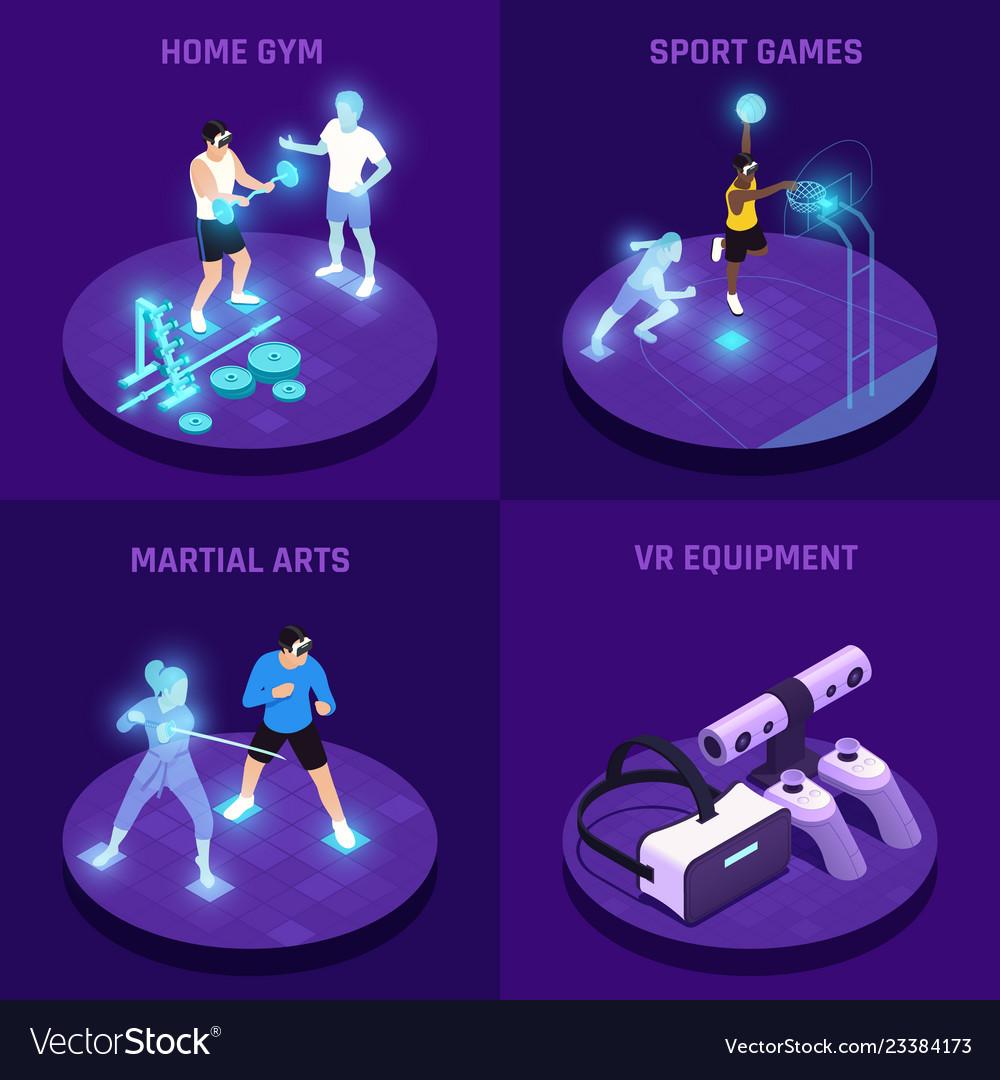 Vr sports isometric design concept