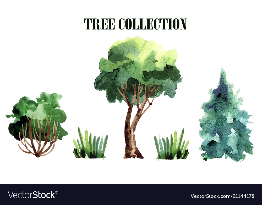 A collection of handmade trees watercolor