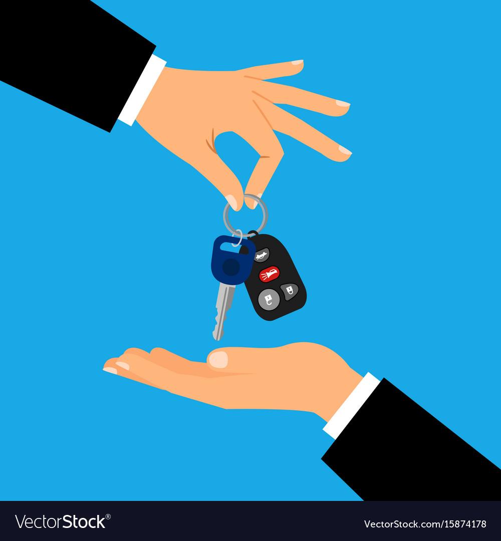 Car keys with men hands