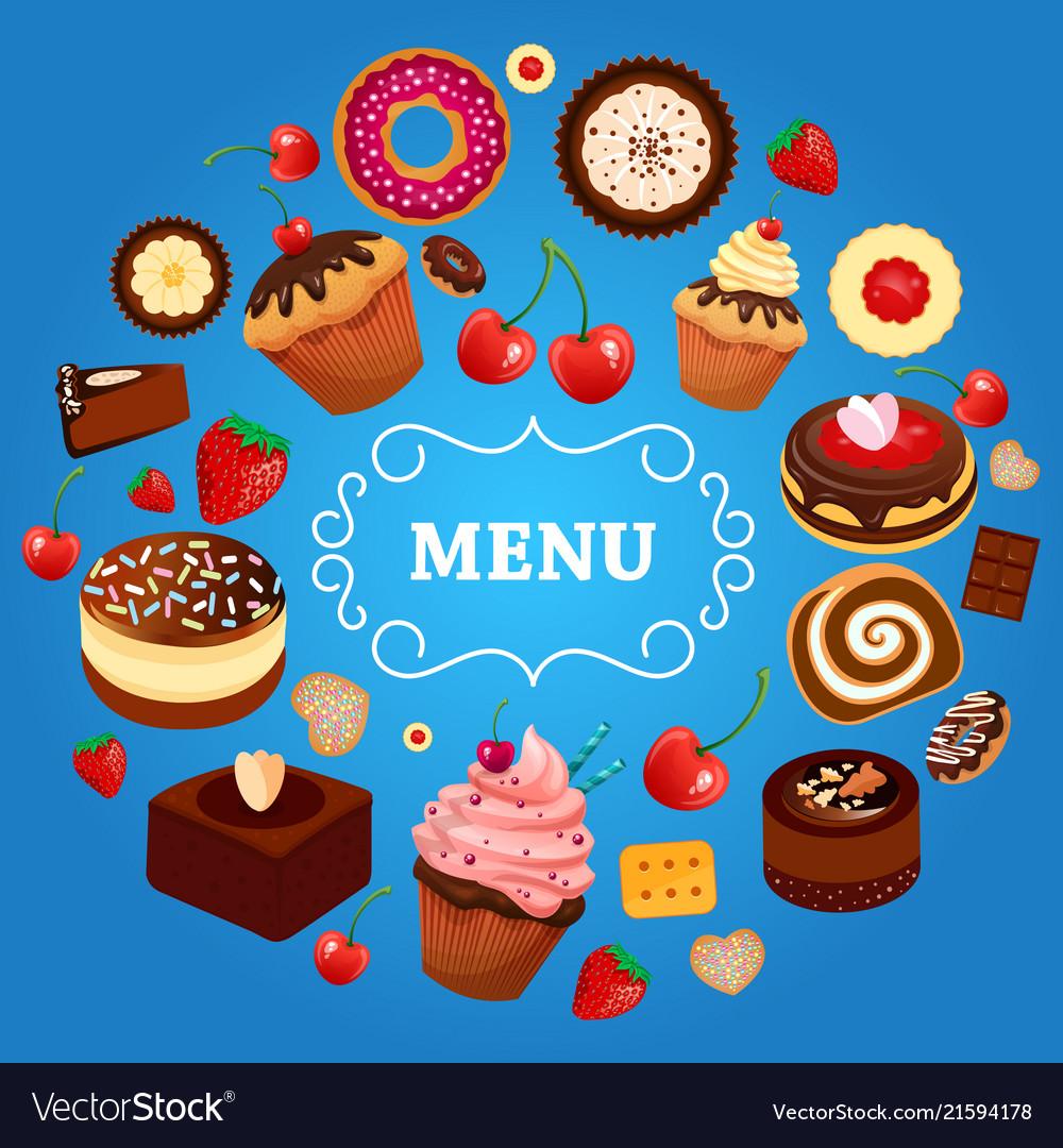 Dessert menu cake donut food sweet strawberry
