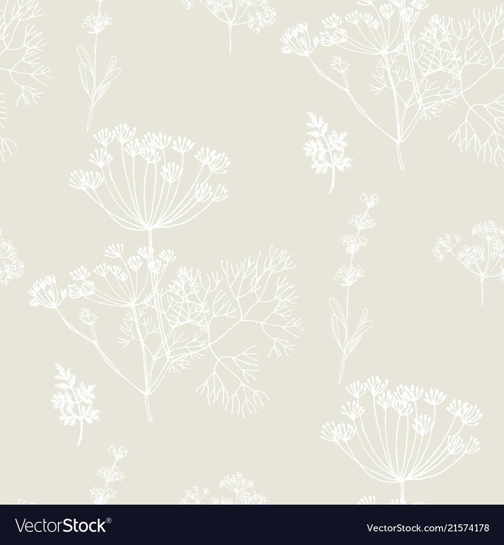 Hand drawn herbal sketch seamless pattern