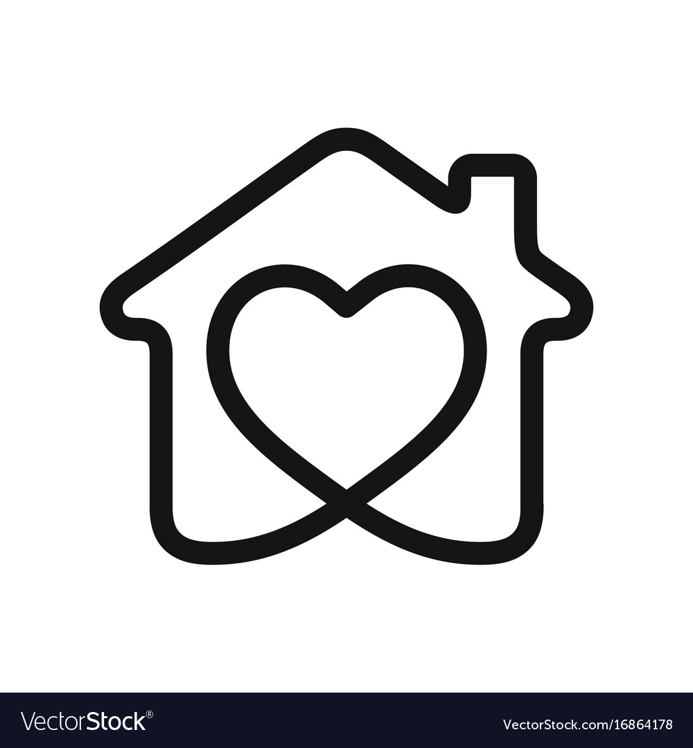 Heart in house vector image
