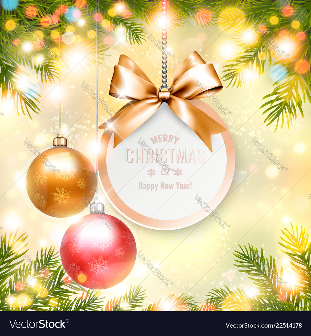Holiday christmas background with gift card and a