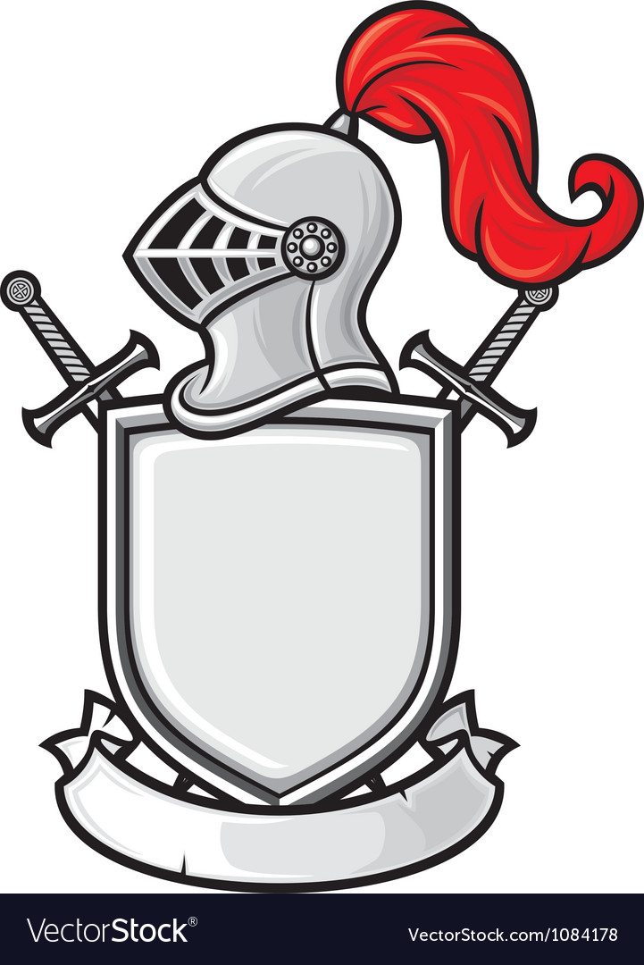 Medieval knight helmet shield crossed swords and