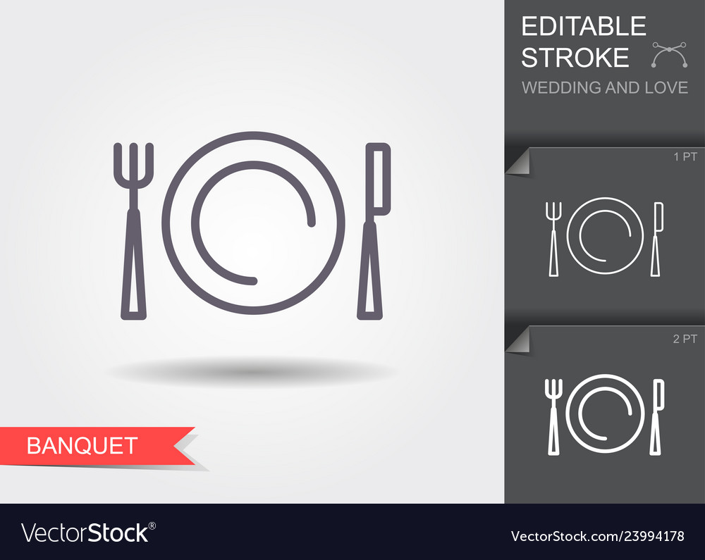 Plate fork and knife line icon with shadow and