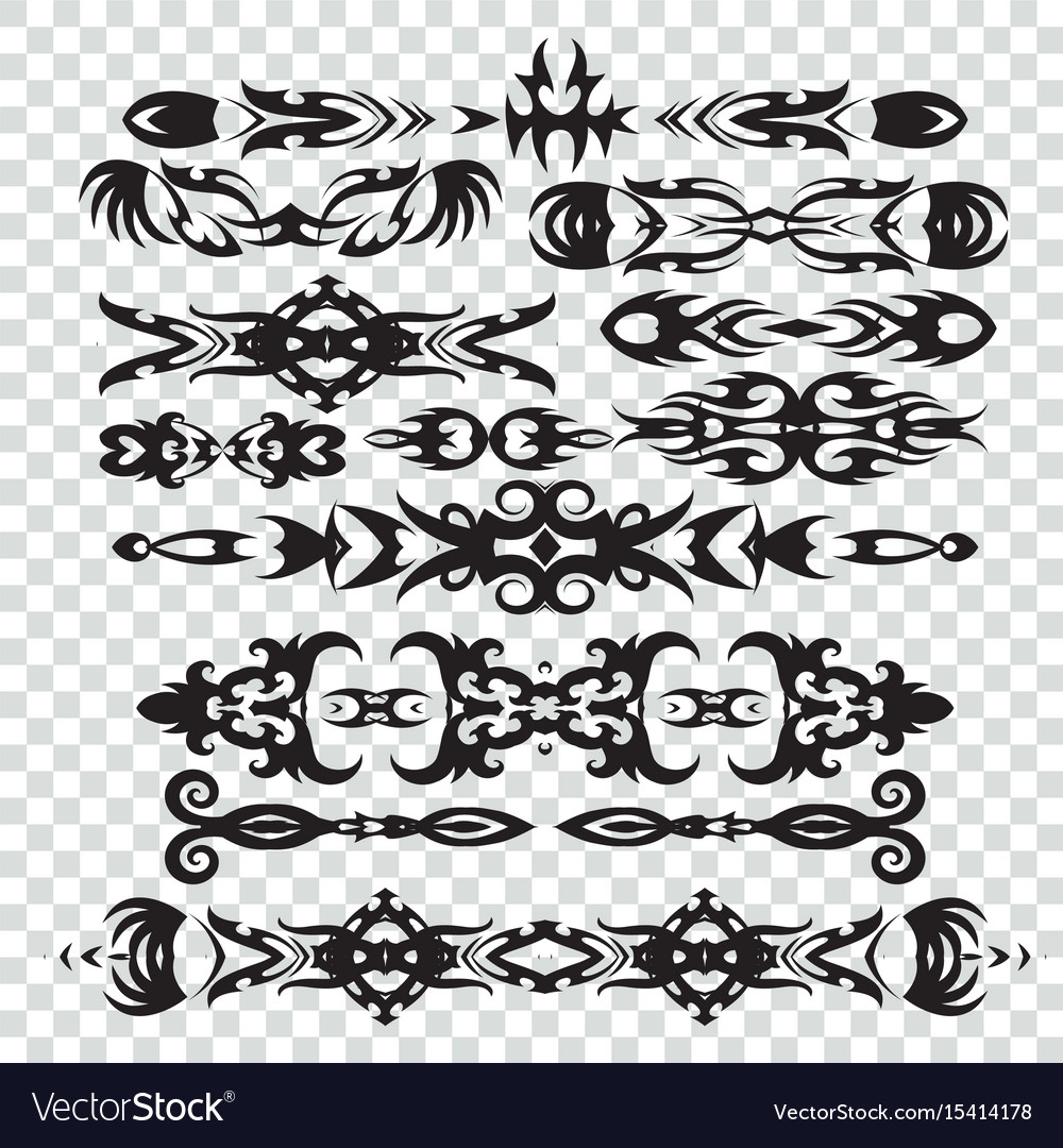 Set of tribal tattoos elements in black color for