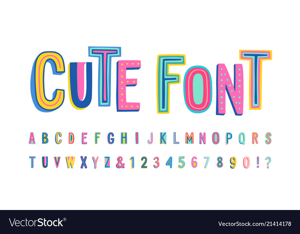 Uppercase cute alphabet font letters numbers and