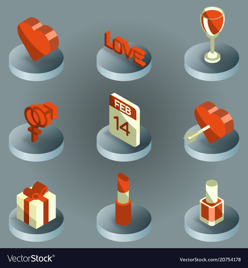 Valentines day color isometric icons