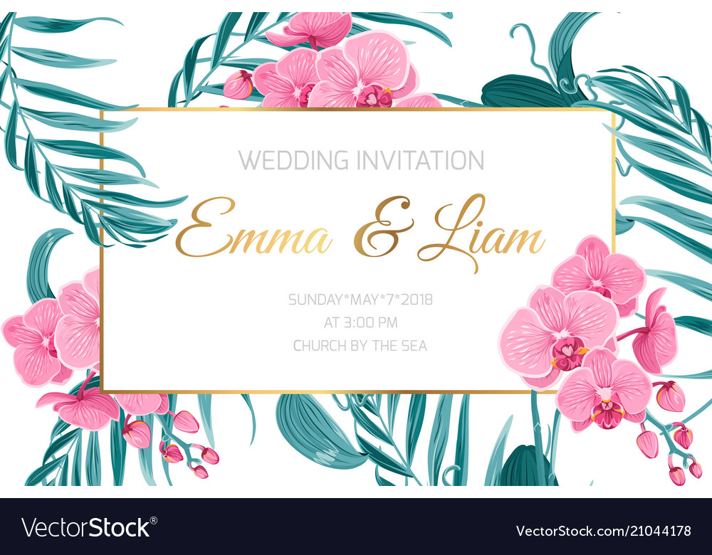 Wedding invitation card frame orchid flower leaves