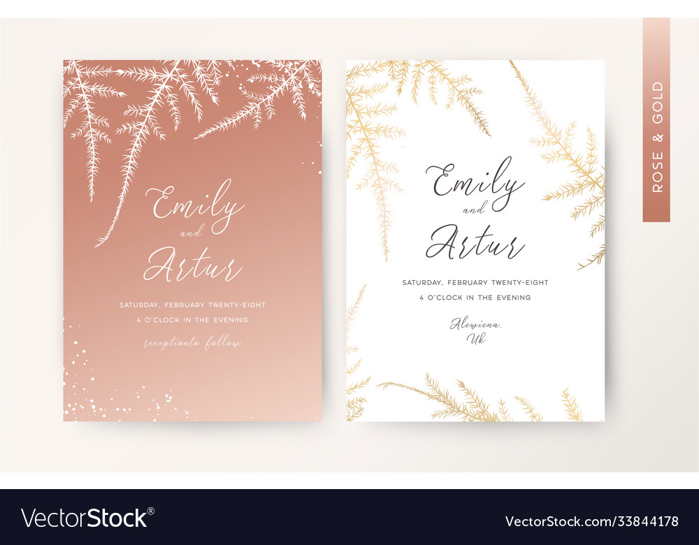 Wedding invite luxury stylish rose gold card