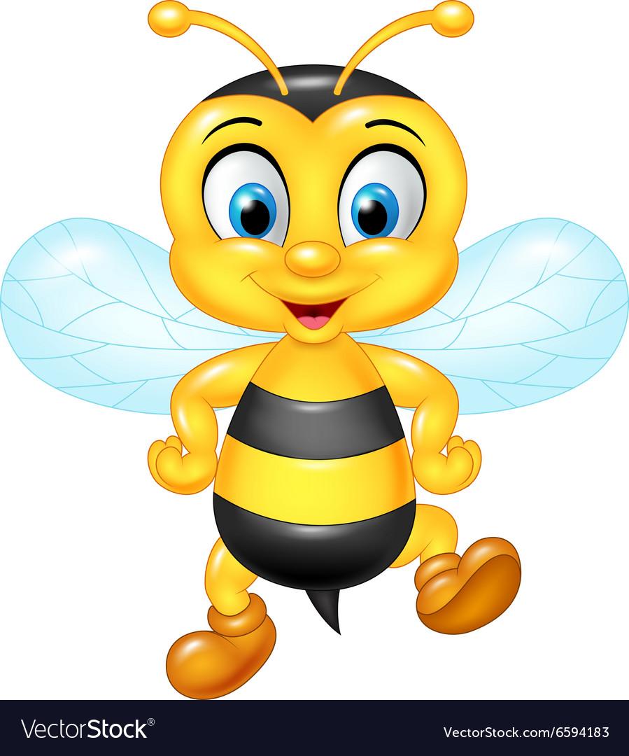 Cartoon funny bee posing isolated