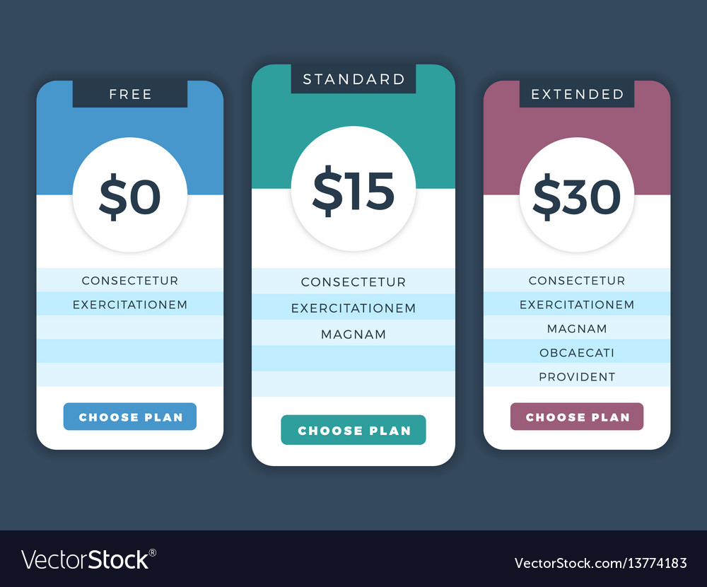 Contemporary pricing business plans data table