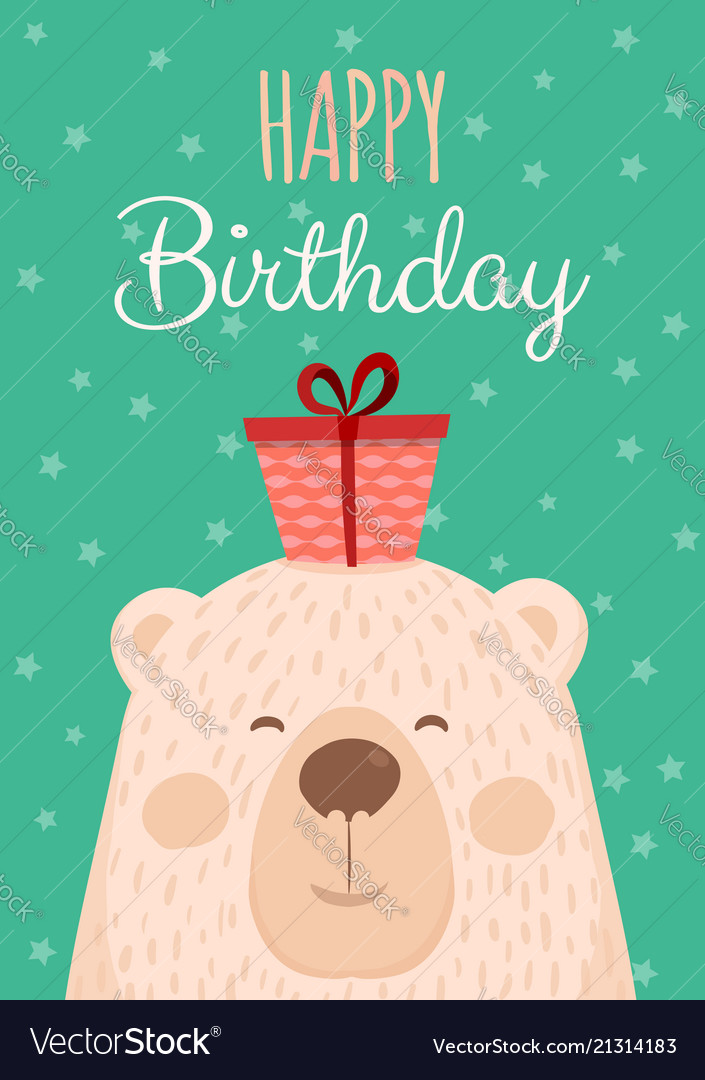 Cute hand drawn card as funny bear with gift