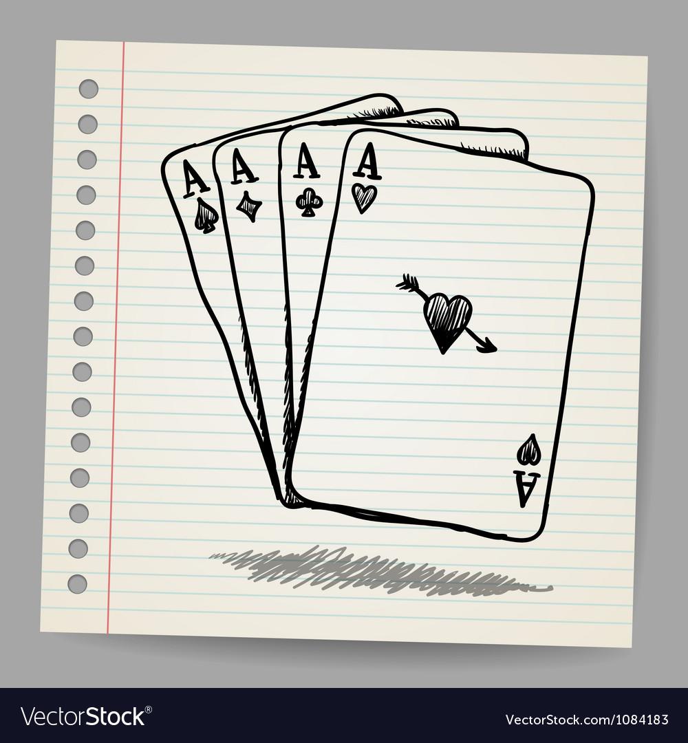 Doodle Sketch Of 4 Aces