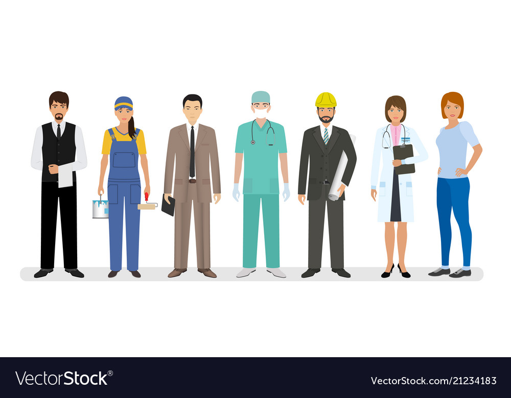 Employee and workers characters standing together