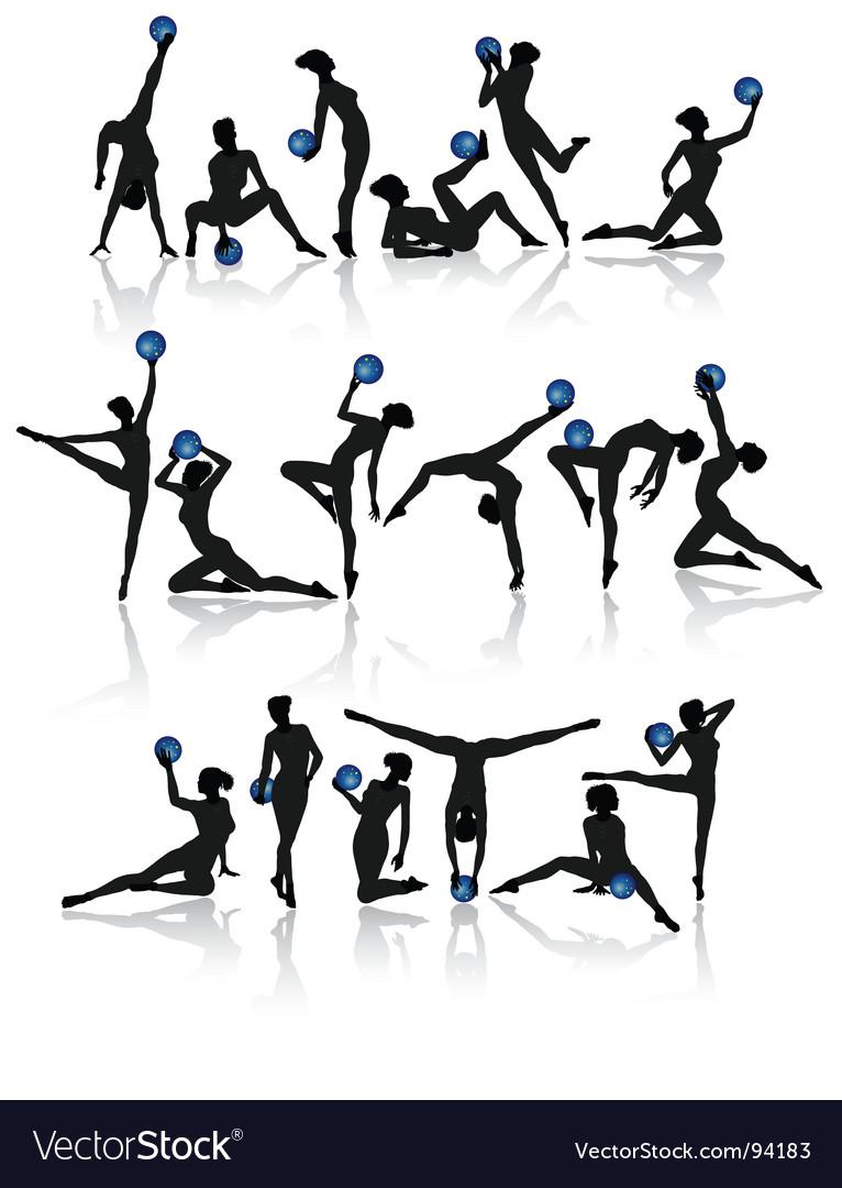 Gymnast girl collection vector image