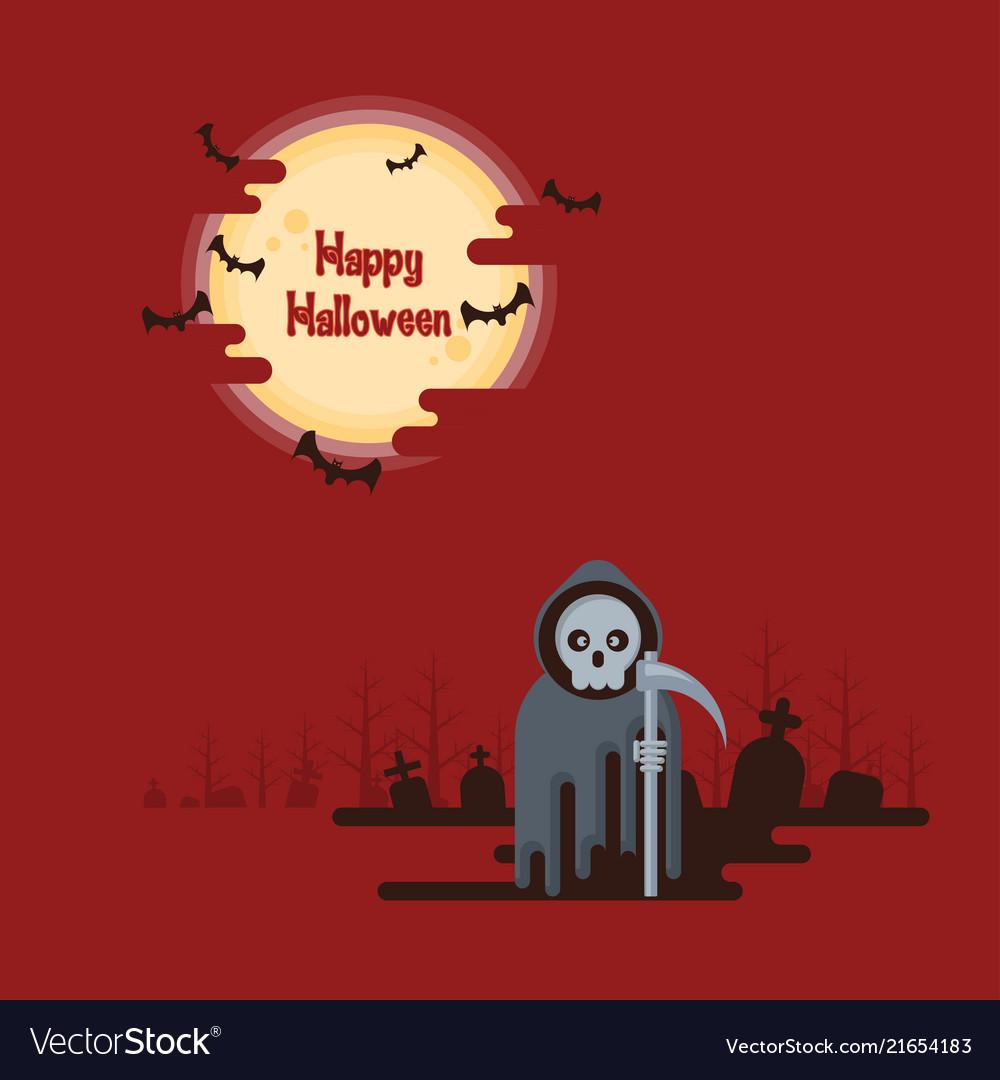 Halloween grim reaper standing under the moon
