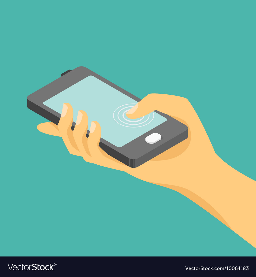 Isometric of hand and a smartphone