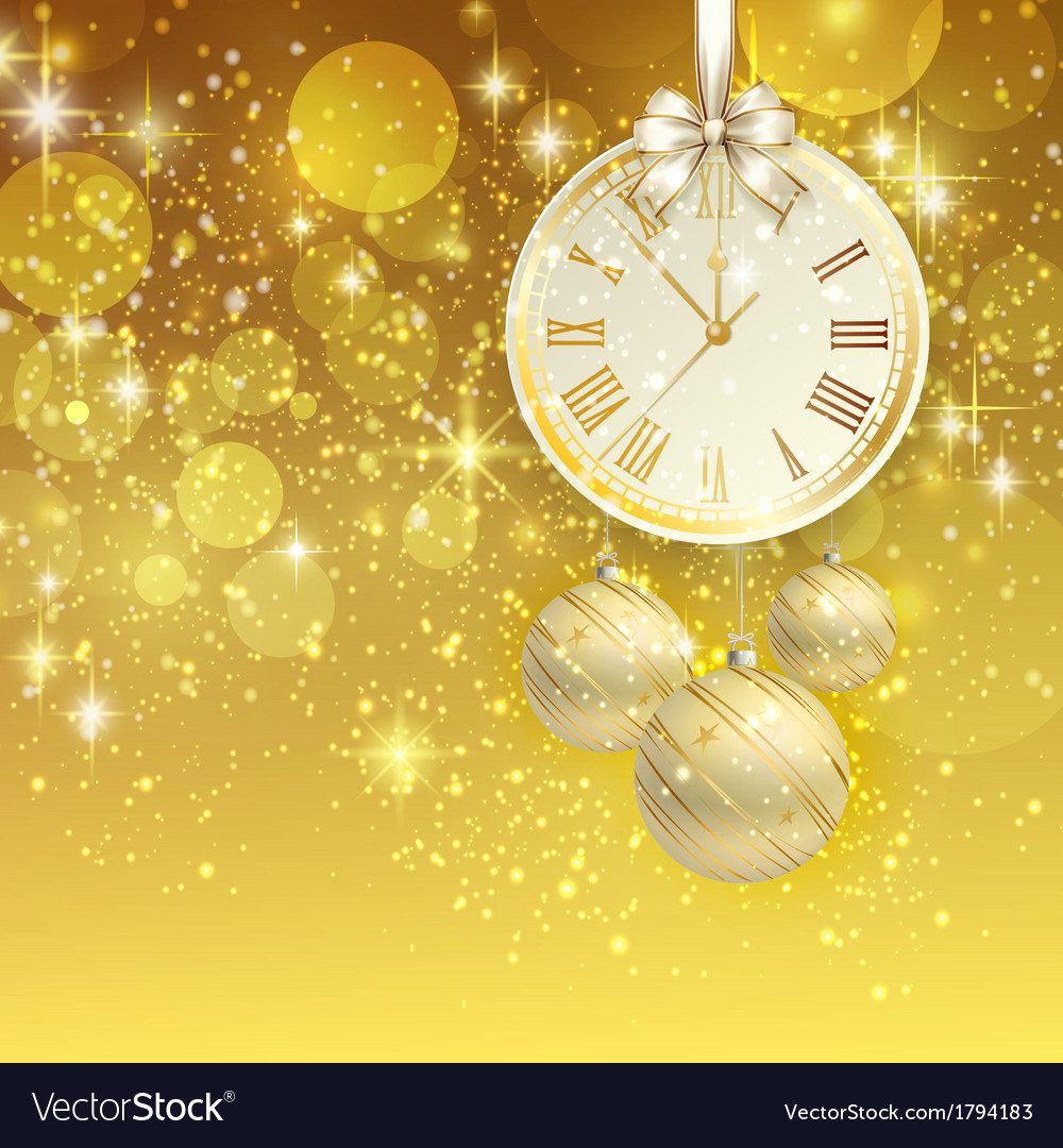 New year background with golden clock